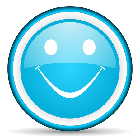 smile blue glossy icon on white background Stock Photo - 17066343
