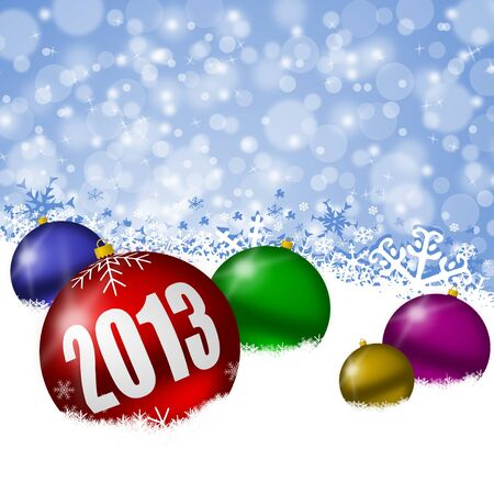 2013 new years illustration with christmas balls and snowflakes Stock Illustration - 17067234