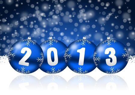2013 new years illustration with christmas balls and snowflakes Stock Illustration - 17067233