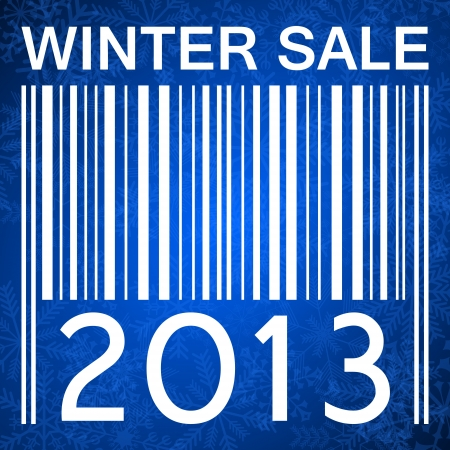 winter sale banner with barcode on blue background with snowflakes photo