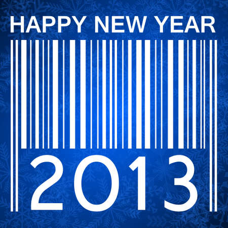 2013 new years illustration with barcode and snowflakes on blue background illustration