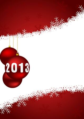 2013 new years illustration with christmas balls and snowflakes Stock Illustration - 17067229