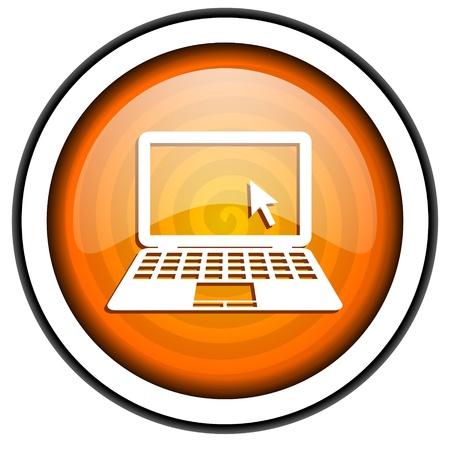 notebook orange glossy icon isolated on white background Stock Photo - 17067176