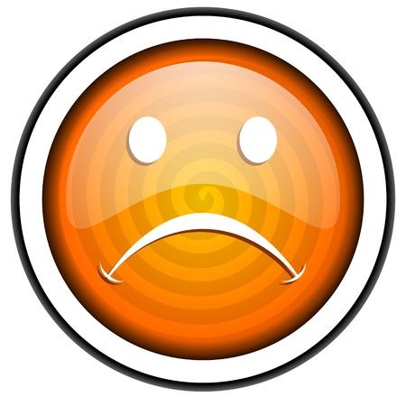 cry orange glossy icon isolated on white background Stock Photo - 17067059