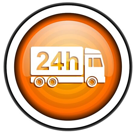 delivery 24h orange glossy icon isolated on white background Stock Photo - 17067189