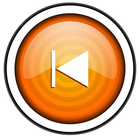 prev orange glossy icon isolated on white background Stock Photo - 17066834