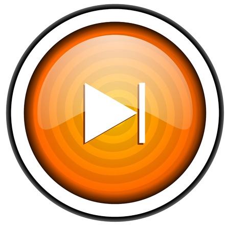 next orange glossy icon isolated on white background Stock Photo - 17066838