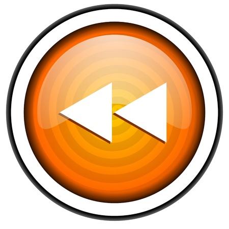 scroll orange glossy icon isolated on white background Stock Photo - 17066820