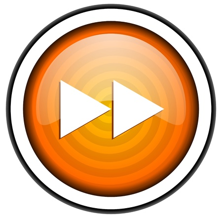 scroll orange glossy icon isolated on white background Stock Photo - 17066844
