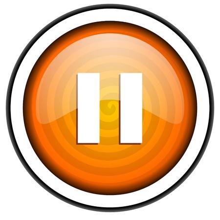 pause orange glossy icon isolated on white background Stock Photo - 17066751