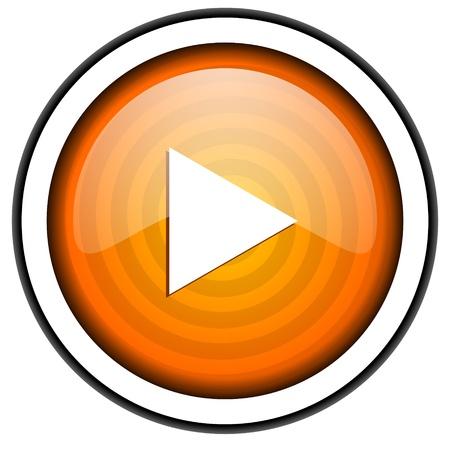 play orange glossy icon isolated on white background Stock Photo - 17066805
