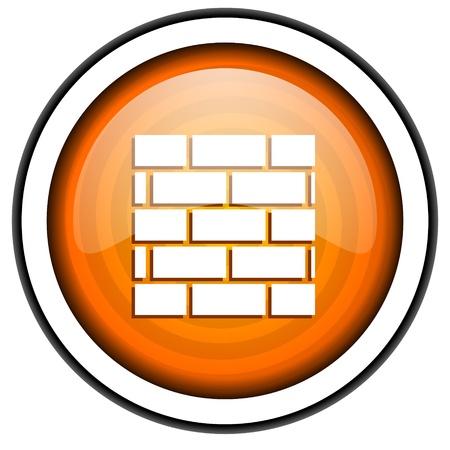 firewall orange glossy icon isolated on white background Stock Photo - 17066937