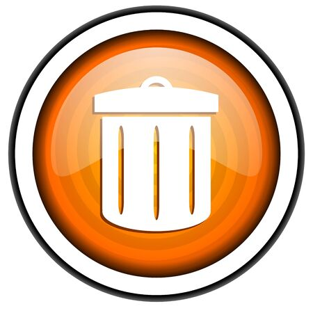 recycle orange glossy icon isolated on white background Stock Photo - 17066809