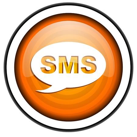 sms orange glossy icon isolated on white background Stock Photo - 17067035