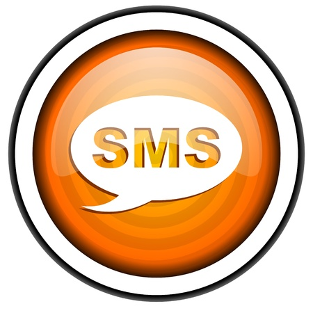 sms orange glossy icon isolated on white background Stock Photo - 17067035