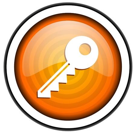 key orange glossy icon isolated on white background photo