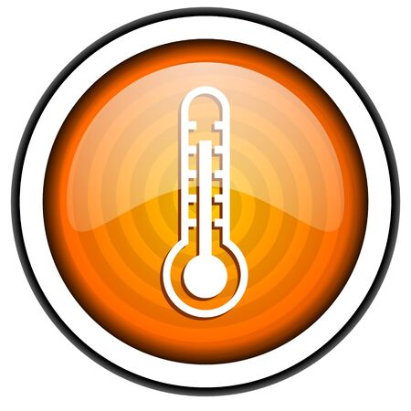 thermometer orange glossy icon isolated on white background photo