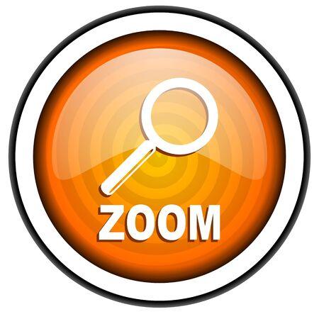 zoom orange glossy icon isolated on white background Stock Photo - 17067181