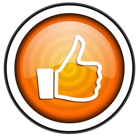 thumb up orange glossy icon isolated on white background Stock Photo - 17067054