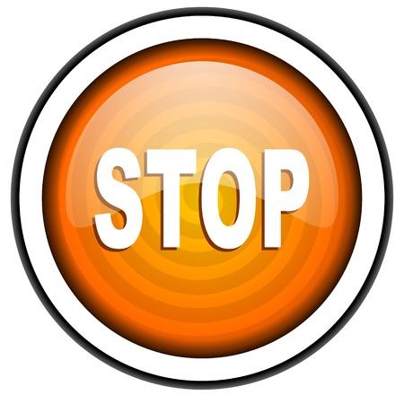 stop orange glossy icon isolated on white background Stock Photo - 17066989