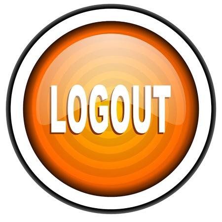 logout orange glossy icon isolated on white background Stock Photo - 17067079