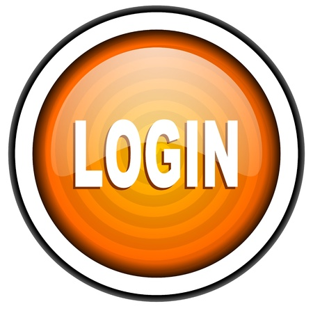 login orange glossy icon isolated on white background Stock Photo - 17067018