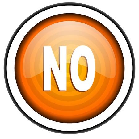 no orange glossy icon isolated on white background Stock Photo - 17066902