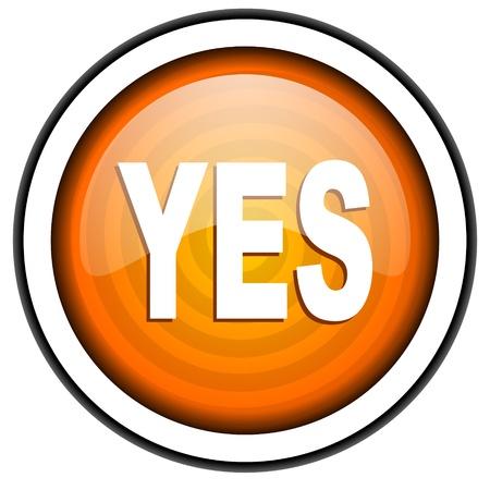 yes orange glossy icon isolated on white background Stock Photo - 17066951