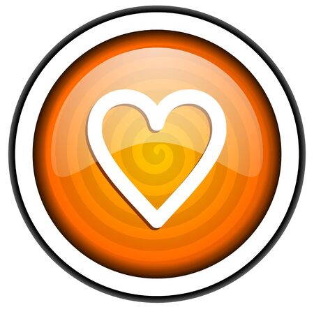heart orange glossy icon isolated on white background Stock Photo - 17067047