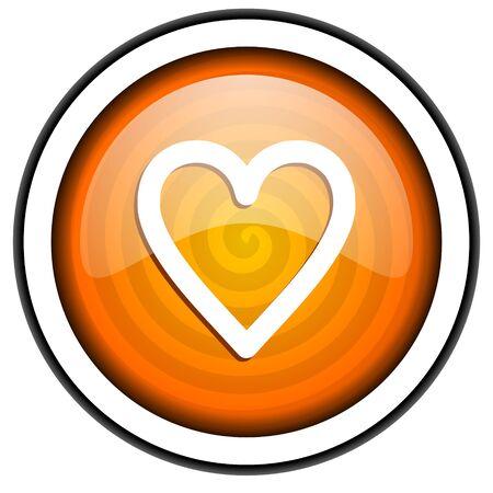 heart orange glossy icon isolated on white background Stock Photo - 17067047