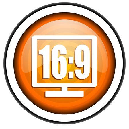 16 9 display orange glossy icon isolated on white background photo