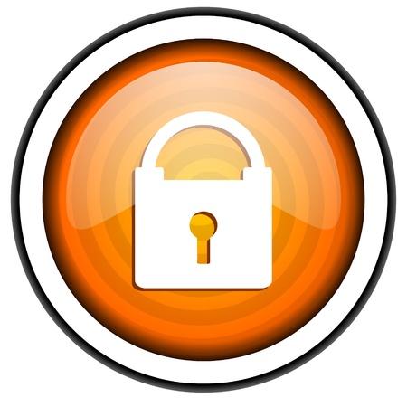 protect orange glossy icon isolated on white background Stock Photo - 17066757