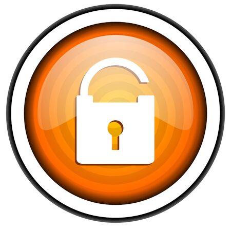 padlock orange glossy icon isolated on white background Stock Photo - 17066759