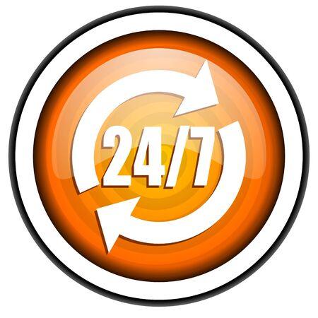 24/7 service orange glossy icon isolated on white background Stock Photo - 17067134