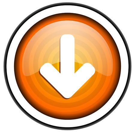 arrow down orange glossy icon isolated on white background Stock Photo - 17066781