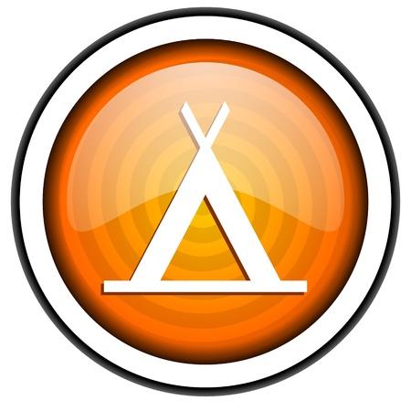 camping orange glossy icon isolated on white background photo