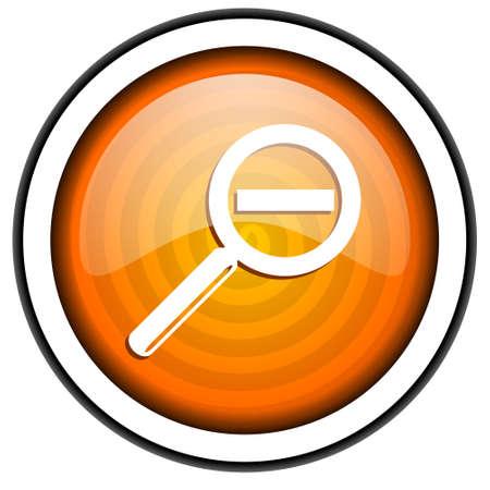 magnification orange glossy icon isolated on white background Stock Photo - 17067026