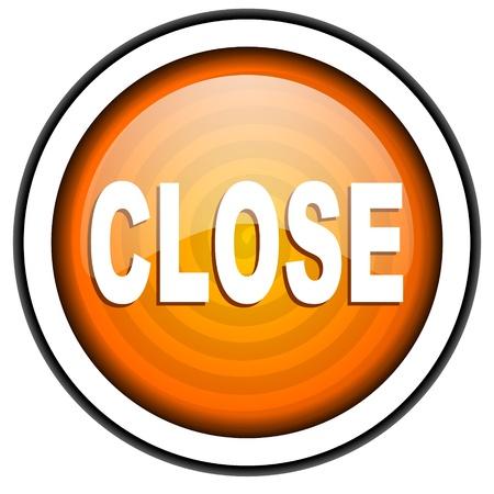 close orange glossy icon isolated on white background Stock Photo - 17067043