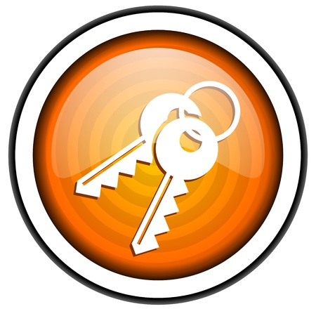 keys orange glossy icon isolated on white background Stock Photo - 17067196