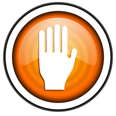 stop orange glossy icon isolated on white background Stock Photo - 17066775