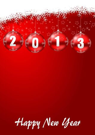 2013 new years illustration with christmas balls and snowflakes Stock Illustration - 17067230