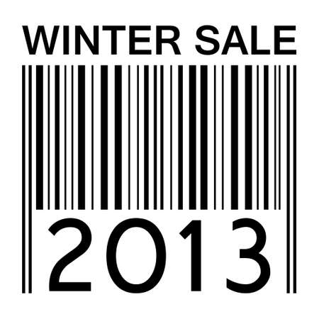 winter sale  banner with barcode photo