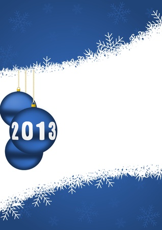 2013 new years illustration with christmas balls and snowflakes illustration
