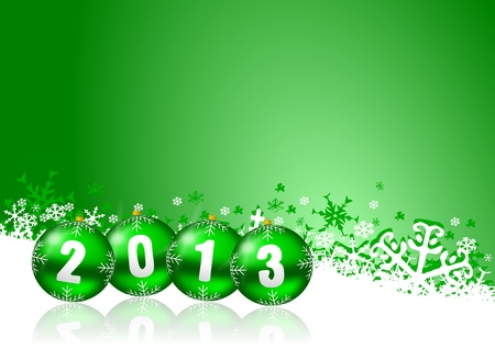2013 new years illustration with christmas balls and snowflakes Stock Illustration - 17067231