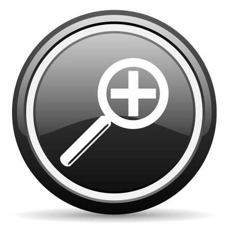 magnification: magnification black glossy icon on white background