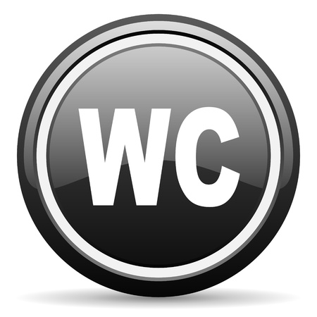 wc black glossy icon on white background photo