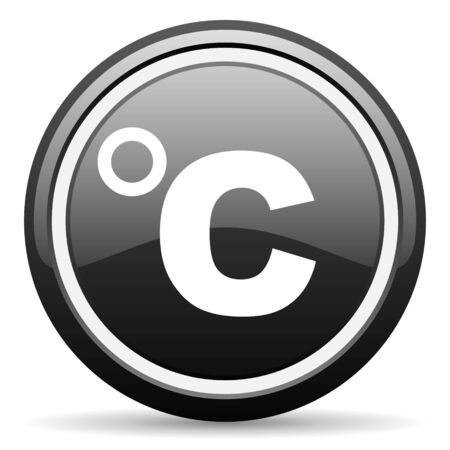 celsius black glossy icon on white background photo