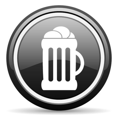 beer black glossy icon on white background photo