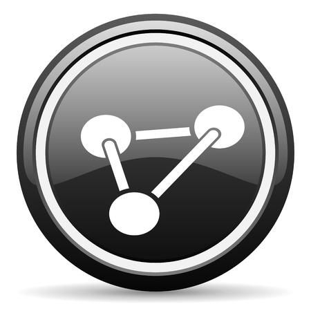 chemistry black glossy icon on white background photo