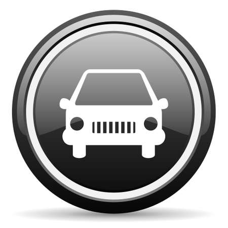 car black glossy icon on white background photo